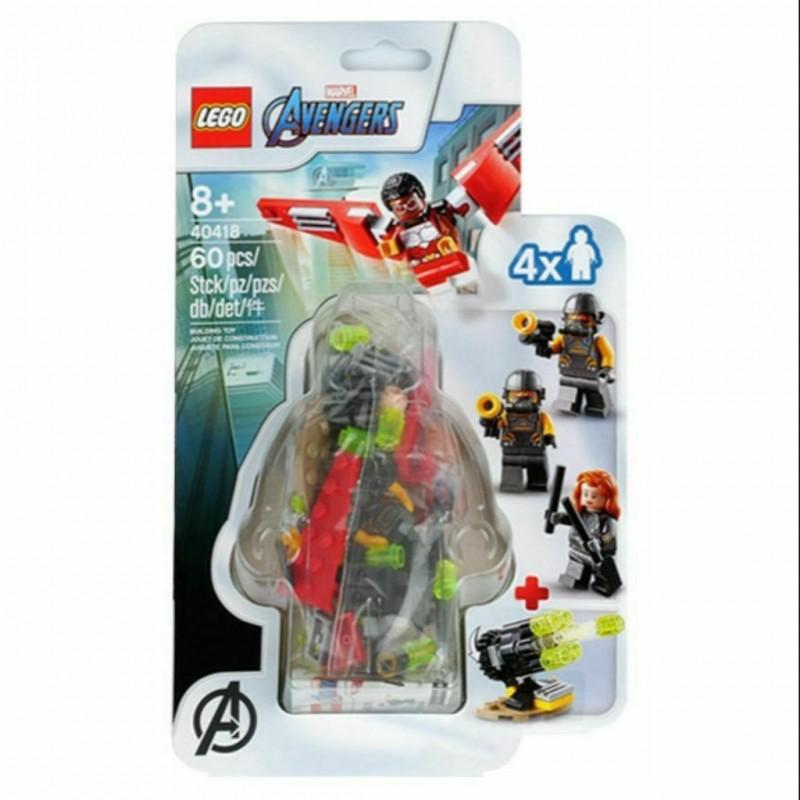 LEGO 40418 SET ACCESSORI TEAM FALCON E BLACK WIDOW MINIFIGURES SUPER HEROES