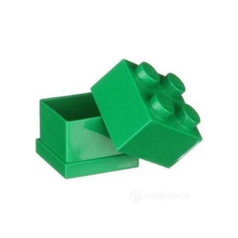 LEGO CONTENITORE VERDE GREEN 2X2 LUNCH MINI BOX BATTESIMO COMUNIONE CONFETTI