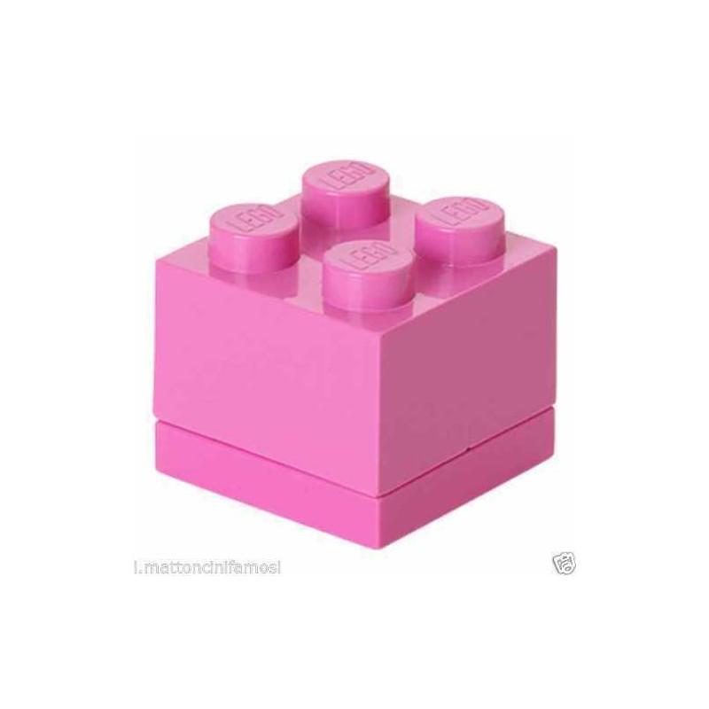 LEGO CONTENITORE ROSA DEEP PINK 2X2 LUNCH MINI BOX BATTESIMO COMUNIONE CONFETTI
