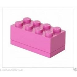 LEGO CONTENITORE ROSA DEEP PINK 2X4 LUNCH MINI BOX BATTESIMO COMUNIONE CONFETTI